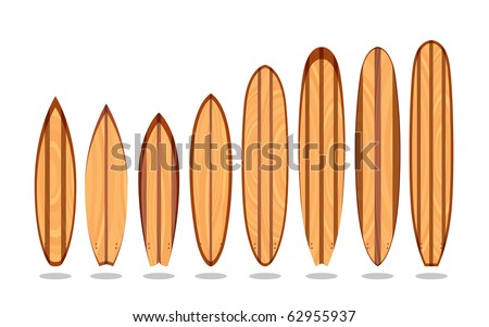 A set of wooden surfboards with different designs and sizes, in editable vector file.