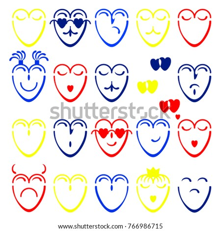 Captivating A Set Of Yellow, Red And Blue Hearts With Different Moods On The White  Background Gallery