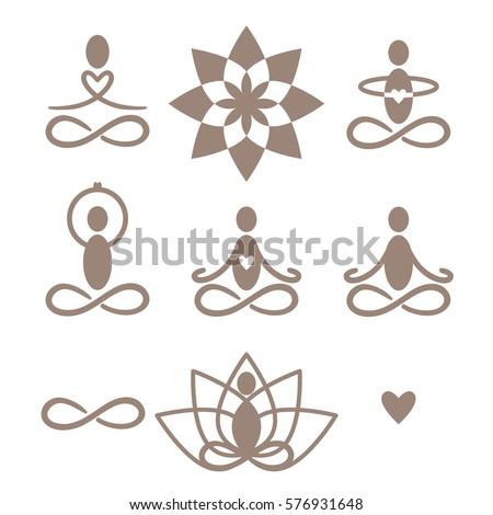 Set Yoga Meditation Symbols Icons Vector Stock Vector 576931648