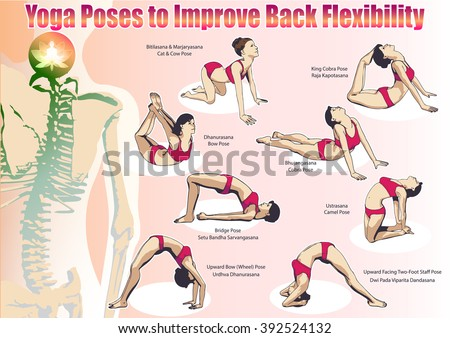 set complex visual exercise yoga better stock vector