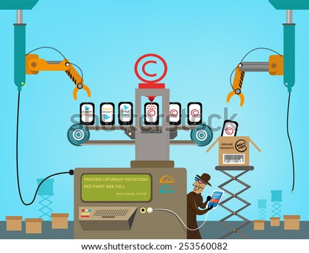 A Shady Man copies information, digital content and Design Elements from a Copyright Printer Machine of Electronic Products. - stock vector