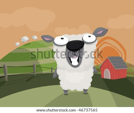 A sheep in a field. - stock vector