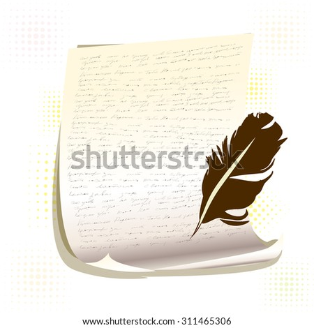 A sheet of paper bird feather. Vector