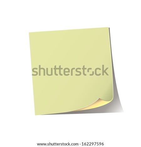 a sheet of yellow paper notebook with space for writing on a white background - stock vector