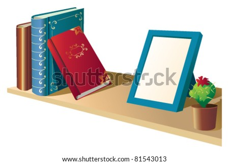 A shelf with books and photo frames