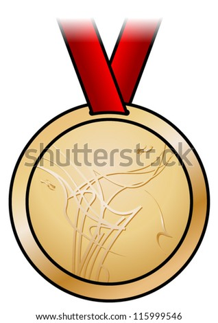 A shiny bronze medal with a modern abstract design and a red satin ribbon. Shown front-on. - stock vector