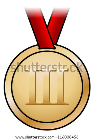 A shiny bronze medal with a simple design and a red satin ribbon. Shown front-on. - stock vector