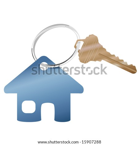 A shiny key ring with a brass house key and real estate or website home symbol. - stock vector