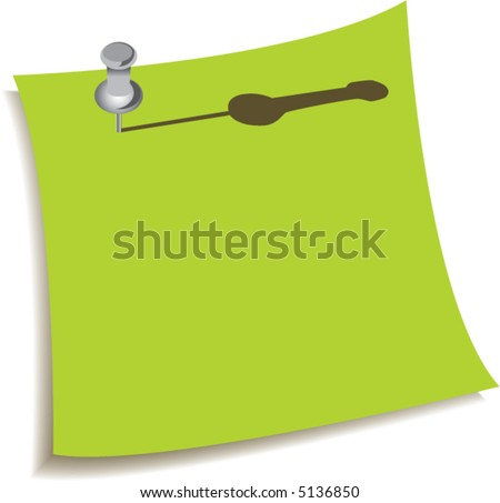 A shiny push pin holds this green note - stock vector