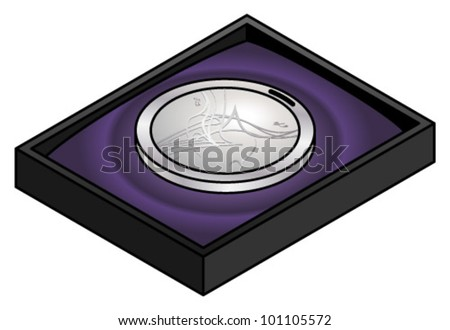 A shiny silver medal with a modern abstract design in a velvet-lined case. - stock vector