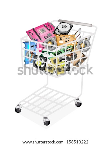 A Shopping Cart Full with CD-ROM Disk Drive, Power Supply Box, Computer Hard Disk, RAM, Computer Graphic Card or Video Card and Computer Mother Board or Mainboard for Desktop PC.  - stock vector