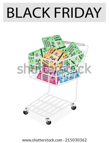 A Shopping Cart Full with Various Colors Computer Main board or Computer for Black Friday Shopping Season and Biggest Discount Promotion in A Year.  - stock vector