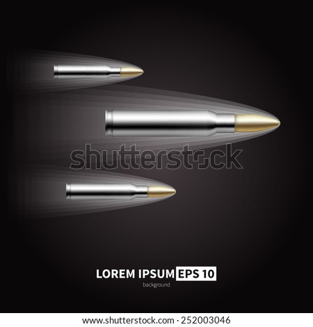 A shot from a rifle. Vector illustration of a flying bullet.  - stock vector