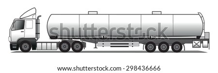 A side illustration of red tank trailer - stock vector
