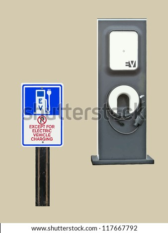 A sign, 'No parking except for Electric Vehicle Charging' sits in front of an EV Charging Station. VECTOR.