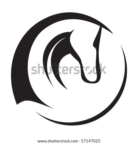 A silhouette drawing of a horse head. - stock vector