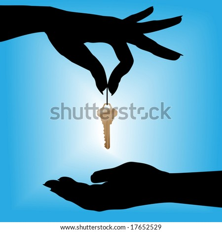 A silhouette female hand holds a house key over a cupped hand against a blue background glow. - stock vector