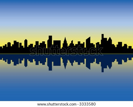 A silhouette illustration of a generic city skyline at sunrise, reflected in water. - stock vector