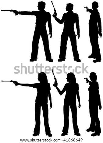 A silhouette man and woman shoot a target pistol in three stances. - stock vector