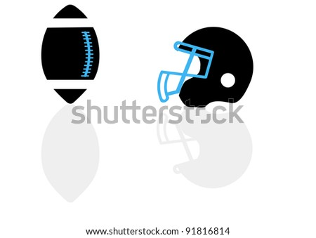 A silhouette of a ball and helmet for football in the vector - stock vector