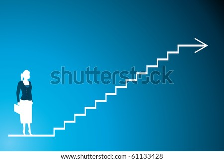 a silhouette of a business women blue and step - stock vector