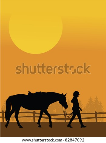 A silhouette of a child leading her horse against and sunset background - stock vector