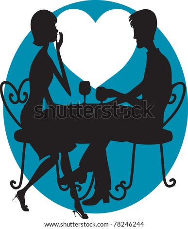 A silhouette of a couple having wine. A big white moon shaped like a heart is in the background - stock vector