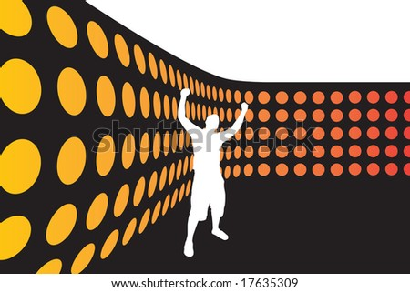 A silhouette of a man with his arms up in the air standing by a wall of lights. - stock vector