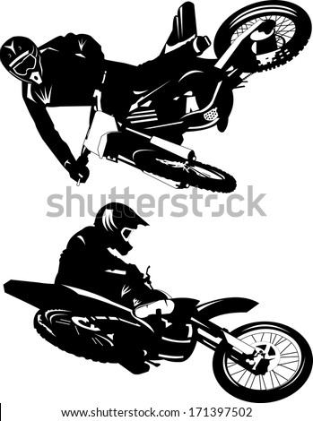 A silhouette of a motorcycle racer commits high jump - stock vector