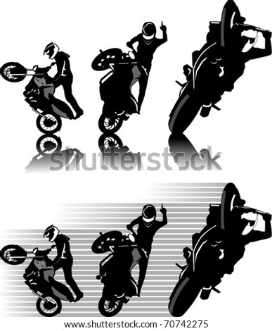 A silhouette of a motorcycle racer commits high jump; - stock vector