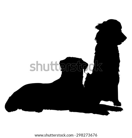 A silhouette of a pair of dogs. One is lying down and the other is sitting - stock vector