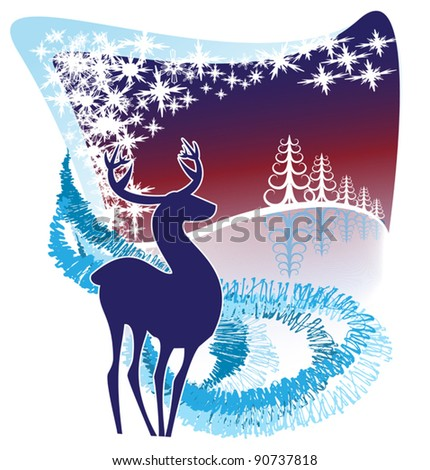 A silhouette of a reindeer in a decorative winter background