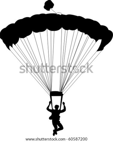 A silhouette of a skydiver - stock vector