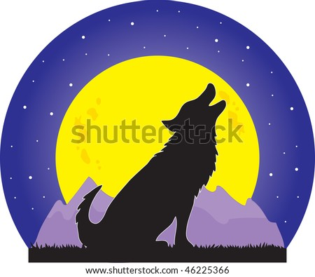 A silhouette of a wolf howling at a large yellow moon on a starry night - stock vector