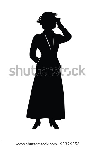 A silhouette of a woman holding her fancy hat. - stock vector