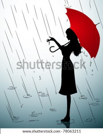 A Silhouette of a young girl with a red umbrella - stock vector