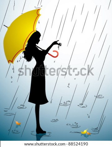 A Silhouette of a young girl with a yellow umbrella - stock vector