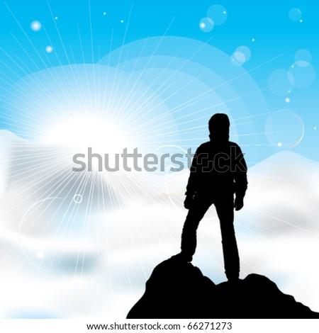 A silhouette of man staying on a top of a mountain and sun rays - stock vector