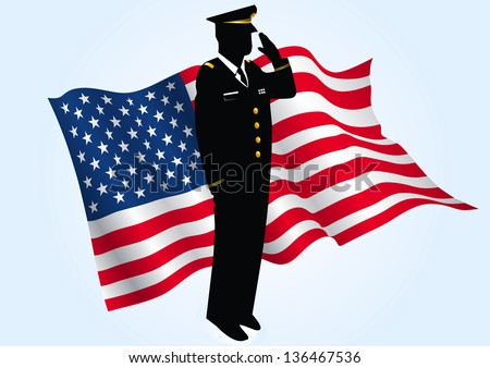 A silhouette  patriotic soldier saluting in front of an American waving flag. - stock vector