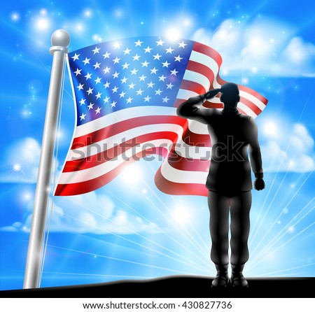 A silhouette soldier saluting with American Flag in the background, design for Memorial Day or Veterans Day - stock vector
