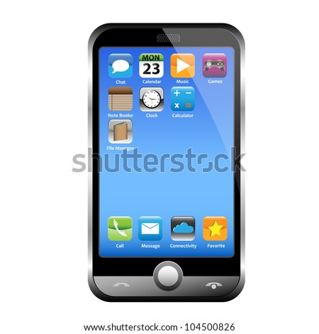 A silver phone width a blue screen and interesting icons. Isolated on white. - stock vector