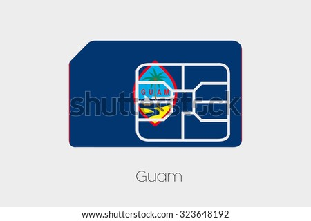 A SIM Card Flag Illustration of the country of Guam