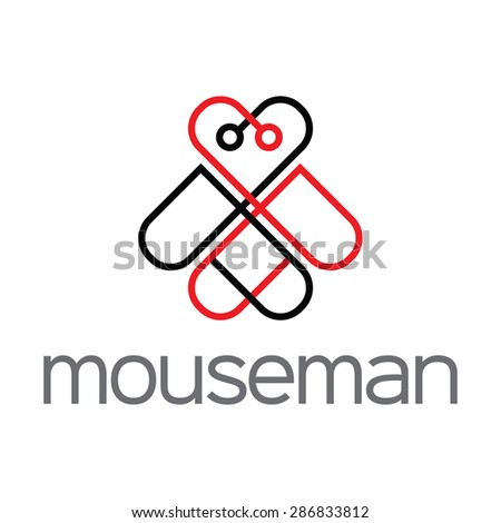 A simple and minimal design of mouse' shape. logo made with red and black color lines. mouse' face inspire a heart shape.  - stock vector