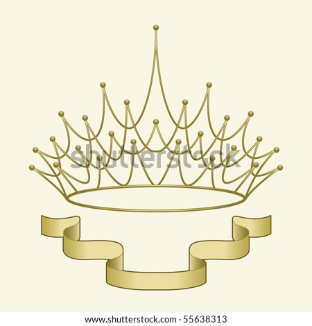 A simple banner beneath an elegant golden crown