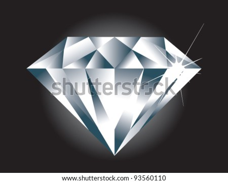 A simple easy to edit vector Diamond. Diamond sparkle and BG on separate layers. - stock vector