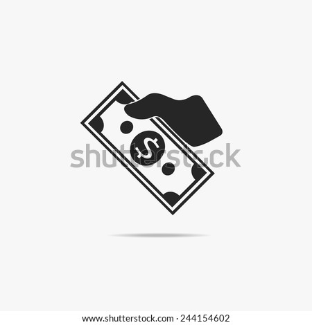 A simple icon hand that gives money. - stock vector