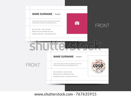 Simple 2 option business card layout stock vector 767635915 a simple 2 option business card layout with thin lines and place for photo or logo colourmoves