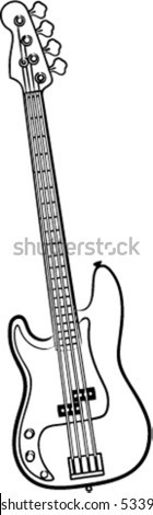 a simple vector Electric Bass Guitar line art illustration - stock vector