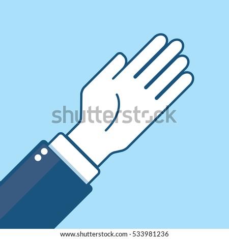 A simple vector illustration of a business man's hand waving a greeting. This illustration is stylized with a heavy blue outline around the arm and hand.