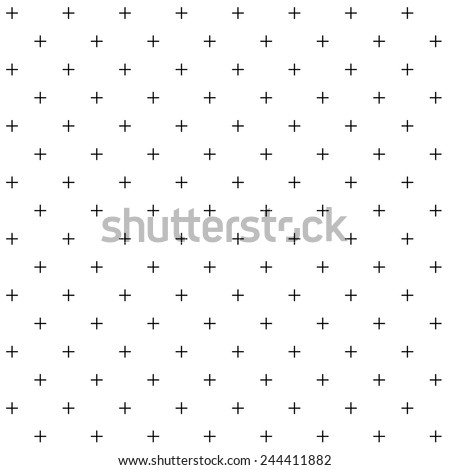 A simple vector pattern made with '+' plus sign - stock vector